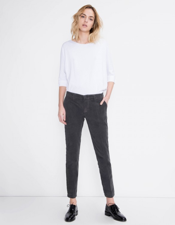 Pantalon cigarette velours Lizzy - CARBONE
