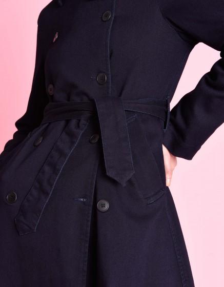 Denim trench coat Thomson Fleece - INDIGO