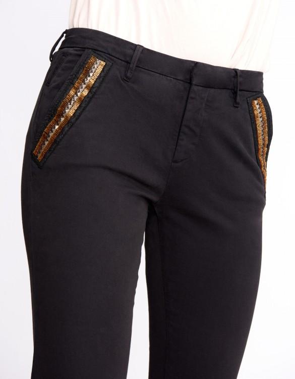 Chino Trousers Sandy Ribbon - BLACK