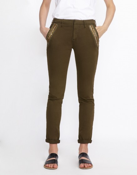 Chino Trousers Sandy Ribbon - DARK KAKI