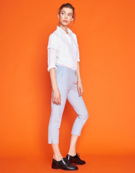 Cigarette Cropped Trousers Laura Fancy - BLUE SCUM