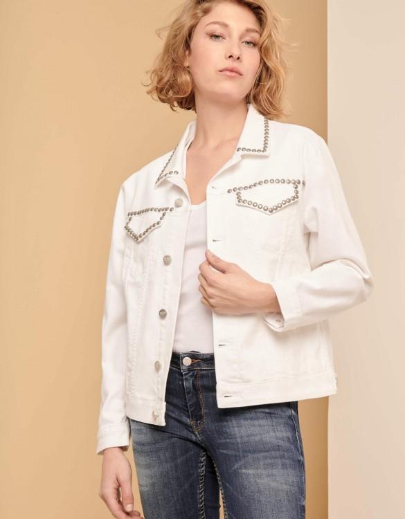 Veste en jean Vahia Studs - WHITE
