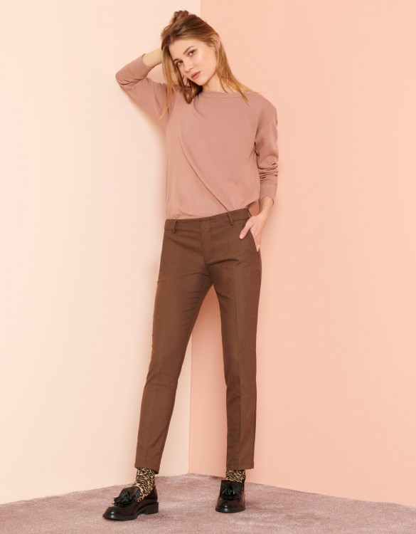 Cigarette Trousers Lizzy Fancy - BROWN BERRY