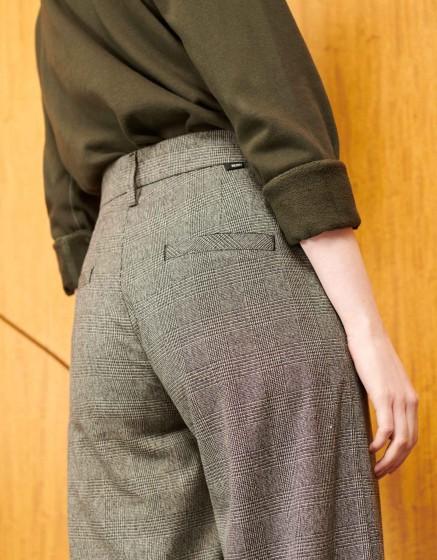 Pantalon wide cropped Paolo Fancy - BLACK TARTAN