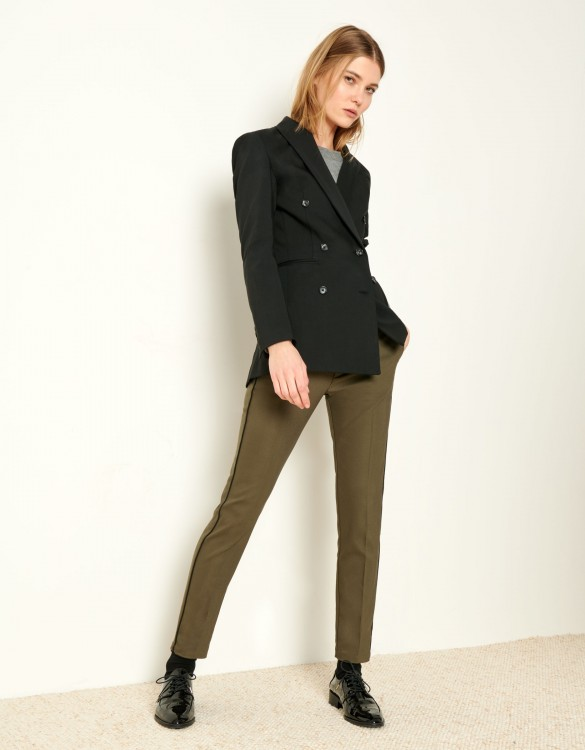 Cigarette Trousers Lizzy Color - KAKI PIPING