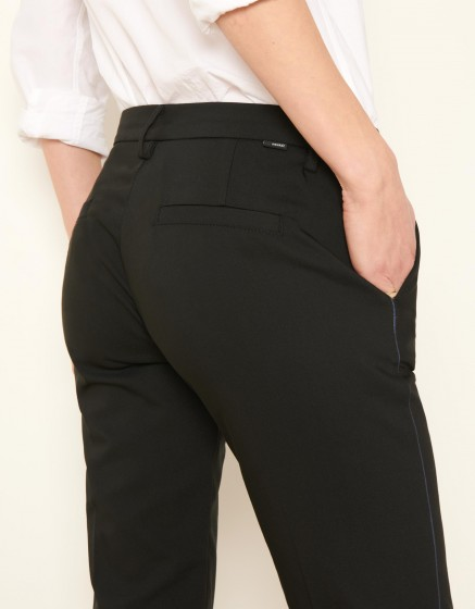 Pantalon Cigarette Lizzy Color - BLACK PIPING