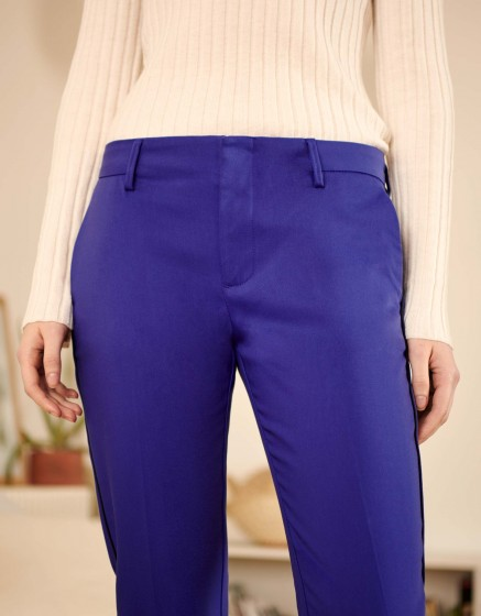Cigarette Trousers Lizzy Color - VICTORIAN BLUE PIPING
