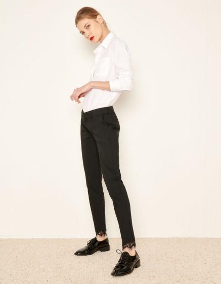 Cigarette Trousers Lizzy Lace - BLACK