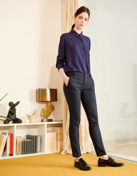 Cigarette Trousers Lizzy Fancy - NAVY TRACK