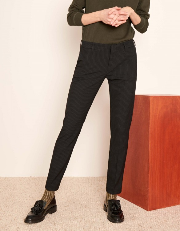 Cigarette Trousers Lizzy Fancy - BLACK STRIPES