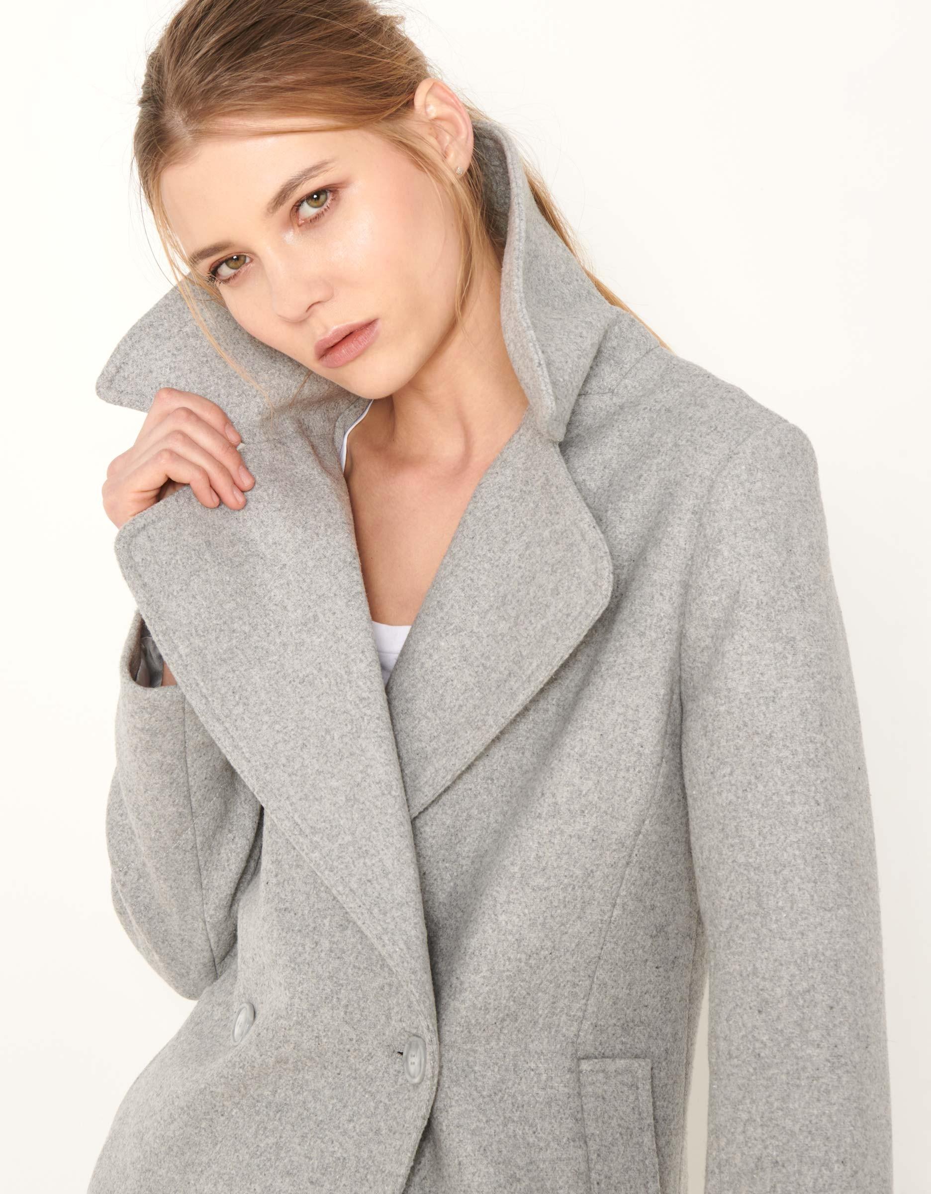 manteau mael color pour femme gris chine fonce reiko. Black Bedroom Furniture Sets. Home Design Ideas
