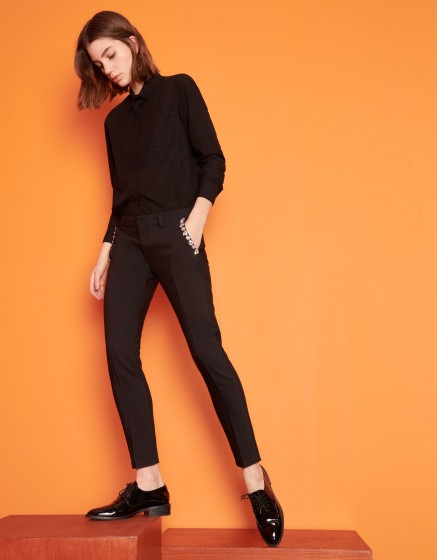 Pantalon Cigarette Lizzy Trim - BLACK