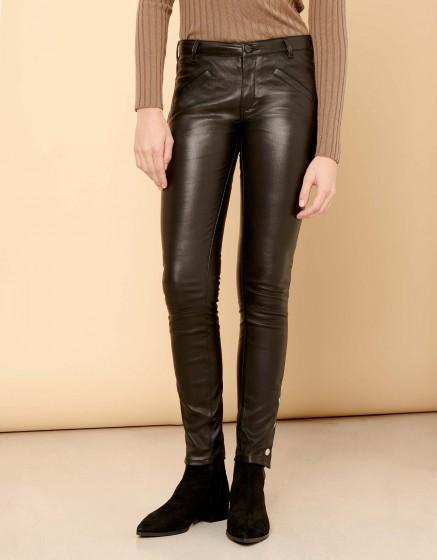 Pantalon skinny Noe Cuir - BLACK