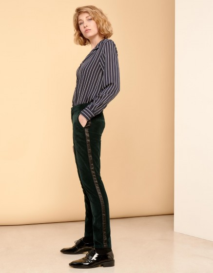 Pantalon cigarette Lizzy Velvet - HERRING DEEP GREEN