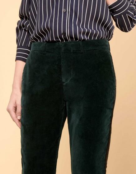 Pantalon cigarette Lizzy Velvet - HERRING DEEP GREEN