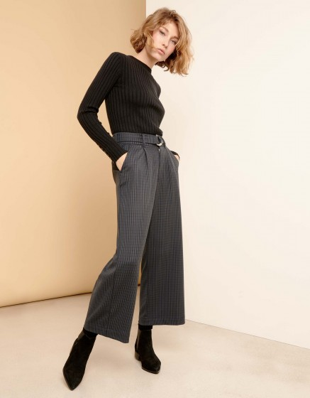 Pantalon wide cropped Pablo Fancy - NAVY PLAID