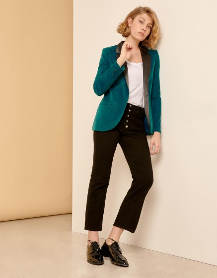 Blazer Blair Velvet - WATERFALL/BLACK