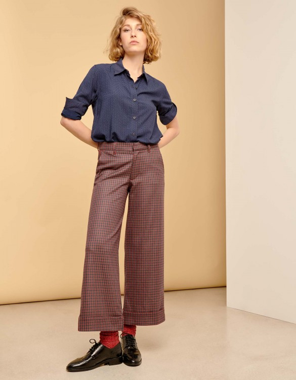 Pantalon wide cropped Paolo - RED PLAID