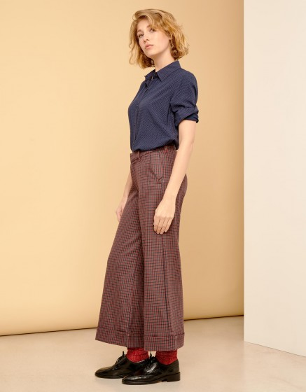 Wide cropped trousers Paolo - RED PLAID