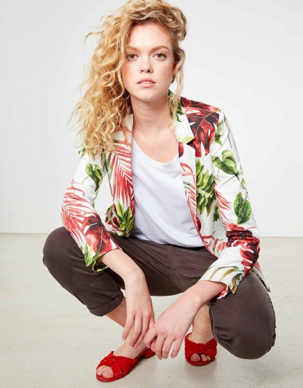 Blazer Blair Printed - WHITE TROPIC
