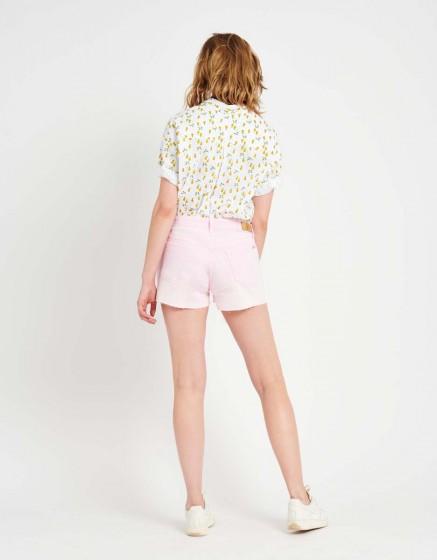 Short en jean coloré Servane Vintage - ROSE