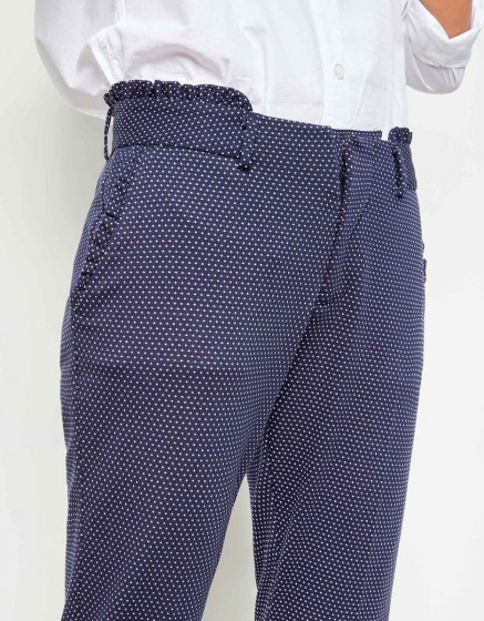 Cigarette Trousers Leon Fancy - DARK NAVY HEARTS