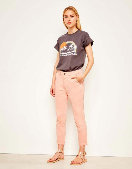 Pantalon chino tapered Scott - DUSTY CORAL