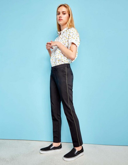 Pantalon Cigarette Lizzy Color - BLACK/KAKI PIPING