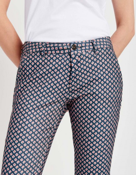 Chino Trousers Sandy Skinny Printed - NAVY DIAMOND