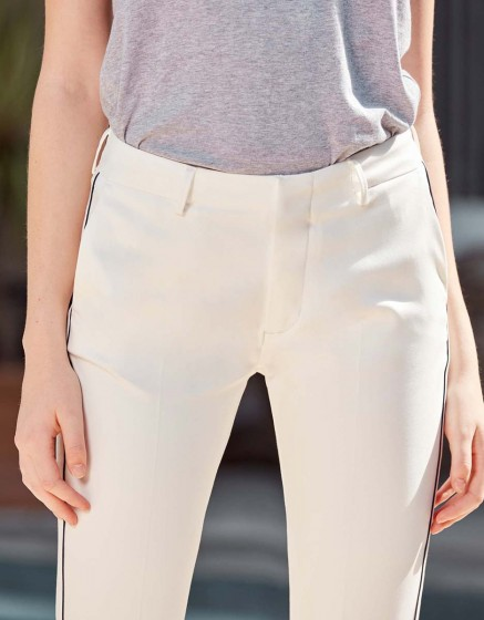 Cigarette Trousers Lizzy Color - WHITE PIPING