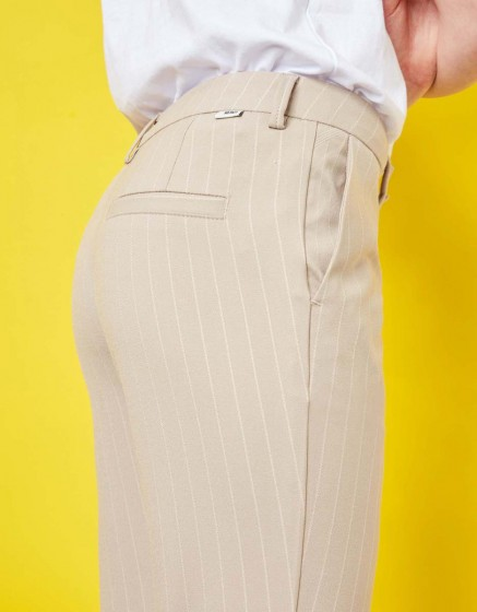 Cigarette Trousers Lizzy Fancy - BEIGE STRIPES