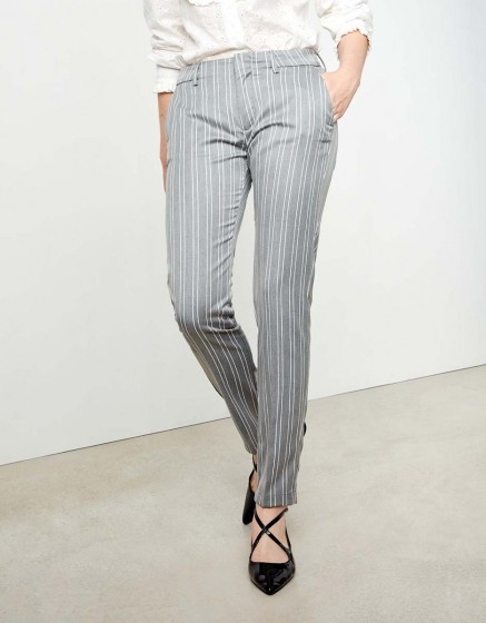 Pantalon cigarette Lizzy Fancy - STEEL STRIPED