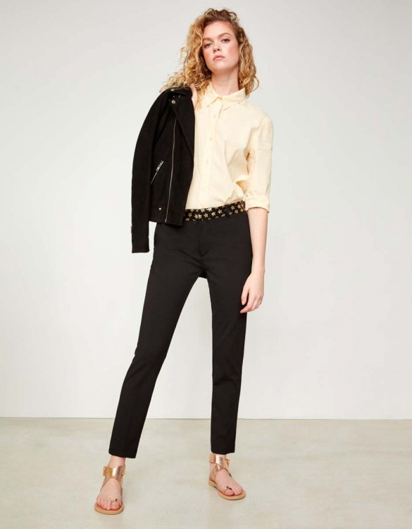 Cigarette Trousers Lizzy Stars - BLACK