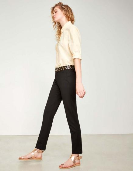 Cigarette Trousers Lizzy Stars - BLACK