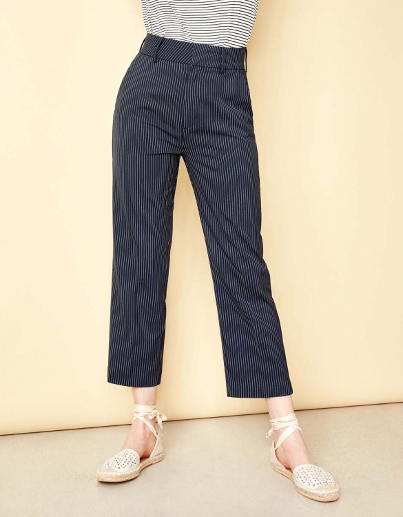 Straight cropped trousers Luis Fancy - DARK NAVY STRIPED