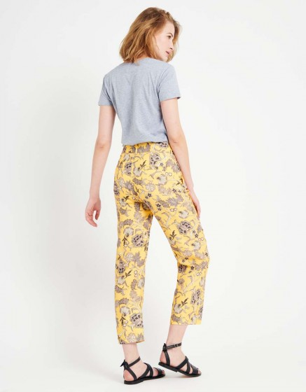 Pantalon straight cropped Luis Printed - YELLOW FLOW