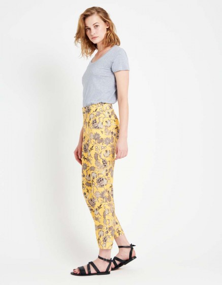 Straight cropped trousers Luis Printed - YELLOW FLOW
