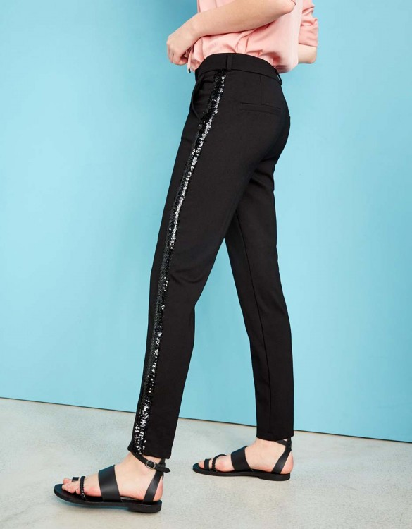 Pantalon cigarette Lizzy Sparkle - BLACK