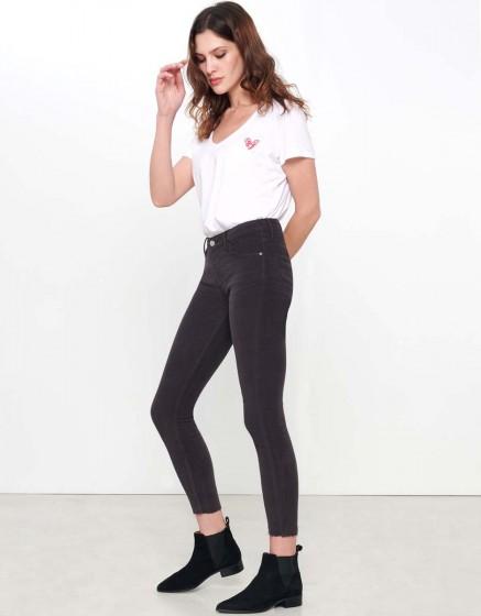 Pantalon Skinny cropped Lily Velvet - CARBONE