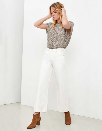 Jean wide cropped Poppy - DENIM WHITE