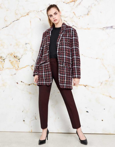 Coat Valentin - BURGUNDY PLAID