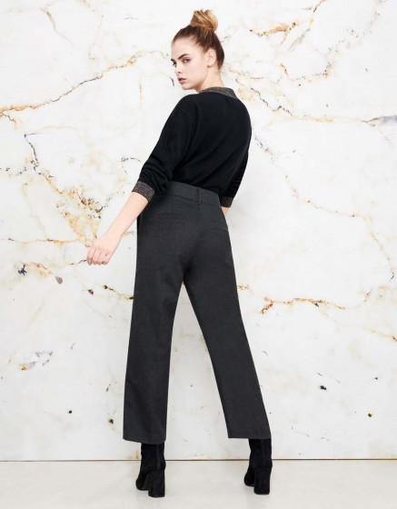Pantalon straight cropped Luis Fancy - GREY SHADOW