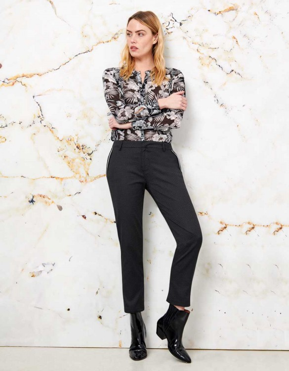 Cigarette Trousers Lizzy Fancy Ribbon - BLACK STONE