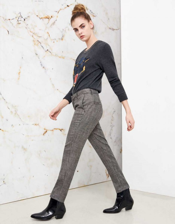 Pantalon cigarette Lizzy Fancy - SILVER HOUNDSTOOTH
