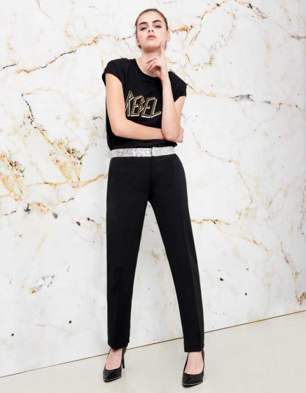 Pantalon cigarette Lizzy shine - BLACK