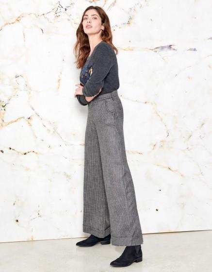 Pantalon wide Pamelo Fancy - SILVER HOUNDSTOOTH
