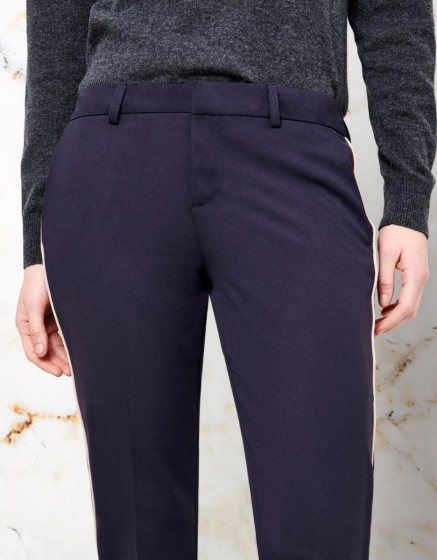 Pantalon Cigarette Lizzy Color - NAVY PIPING BEIGE