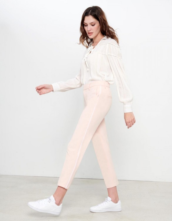 Cigarette Trousers Lizzy Color - ROSE PIPING NUDE