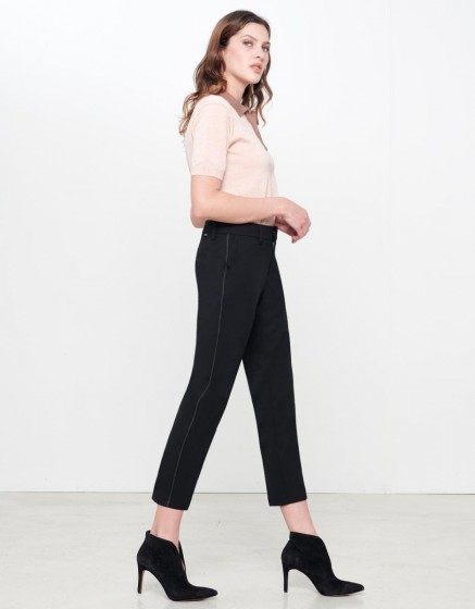 Cigarette Trousers Lizzy Color - BLACK PIPING CARBONE