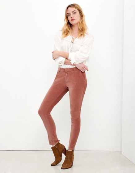Pantalon chino sandy velvet - rose antique